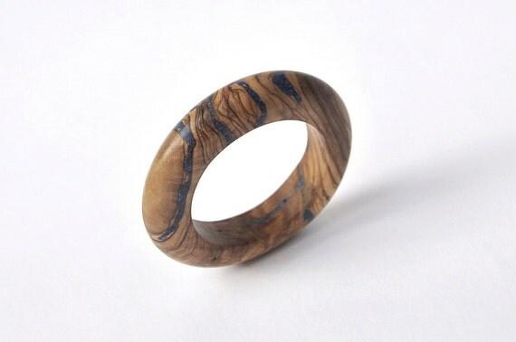 Thin Olivewood Bracelet and Lapis Inlay