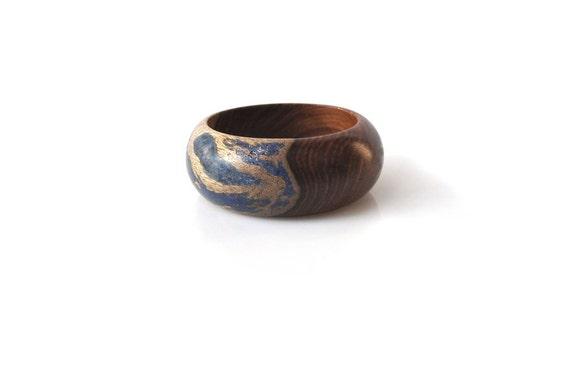 Wood Bracelet, Lapis Blue and Indian Rosewood, Just Blue