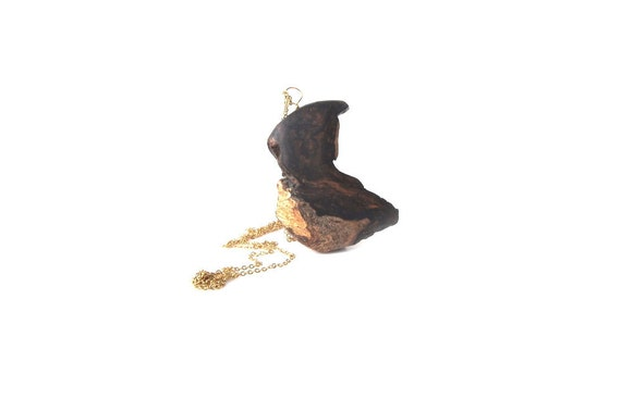 Rserved for VW - Sale 20% discount on all pendants. (quoted price reflects discount)Wood Pendant, Rosewood and Gold Leaf