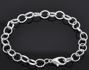 Silver Plated 20cm Charm Bracelet, For Traditional Clip On Style Charms, Affordable Gift, Present, Weddings, Bridal Attendants