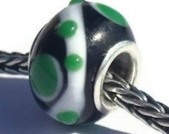 Glass Lampwork Large Hole Bumpy Bead fits European Style Charm Bracelets, Rings, Necklaces, Black, Emerald Green and White Orbital Bead