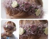 Vintage Look Mauve Flower Crochet Headband Photography Prop Size 1 -3