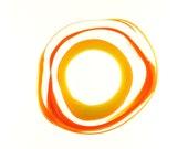 Handmade Lampwork Glass Focal Bead - Mediterranean sunrise - Mystic yellow, Orange, Transparent Orange,Transparent , Yellow.