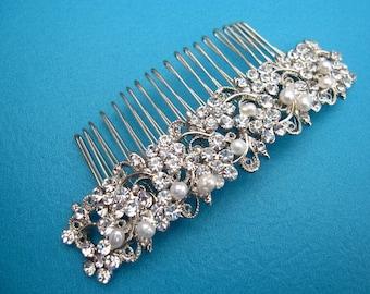 Pearl Bridal comb,Crystal and pearl Bridal hair comb,Wedding hair piece,Bridal hair jewlery,Wedding hair accessories,Bridal hair piece,comb