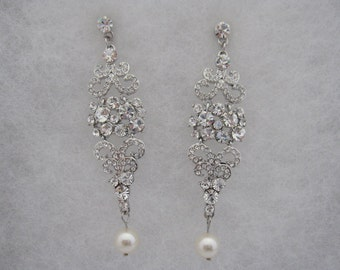 Wedding earring jewelry Wedding earring pearl  Wedding earring Rhinestone Wedding earring vintage Bridal earring pearl Bridal earring