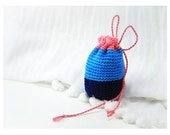 Crocheted Purse - Extra Small, Blue and Pink Color Block, Cotton Drawstring Bag for Mementos, Keepsakes, Anything Else - Handmade Gift Bag