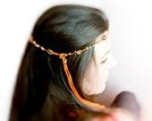 Autumn spicy beaded crochet head piece orange with golden brown beads Crochet hair accessories