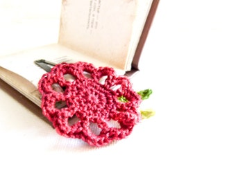Floral hair accessories Burgundy red crochet flower hair clip. Shabby chic. Holiday gift idea for girls