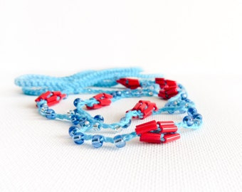 Nautical beaded crochet headpiece with turquoise blue red beads  Summer hair accessories for women