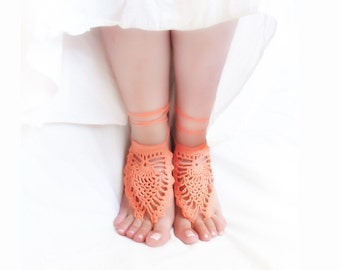 Coral wedding crochet barefoot sandals bridal sexy foot jewelry