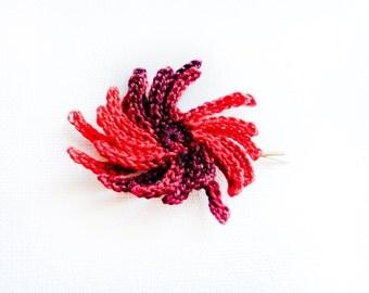Carmen. Crochet Flower hair clip Scarlet red black bobby pin Festive hair accessories