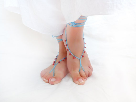Turquoise red coral  barefoot sandles. Beach wedding foot thong, nude shoes,sexy leg thong  bridal foot jewelry