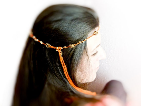 Autumn spicy beaded crochet head piece orange with golden brown beads Crochet hair accessories