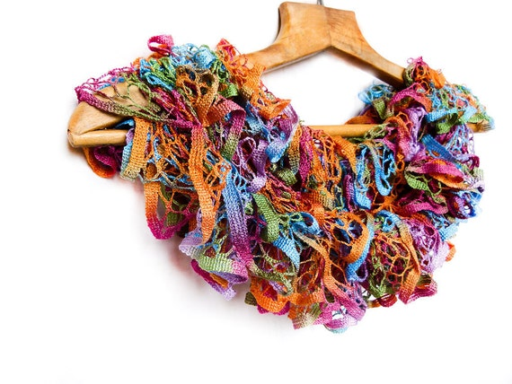 50% off Mothers Day gift idea Spring Bohemian tropical ruffle scarf  Knitwear colorful spring summer women accessories