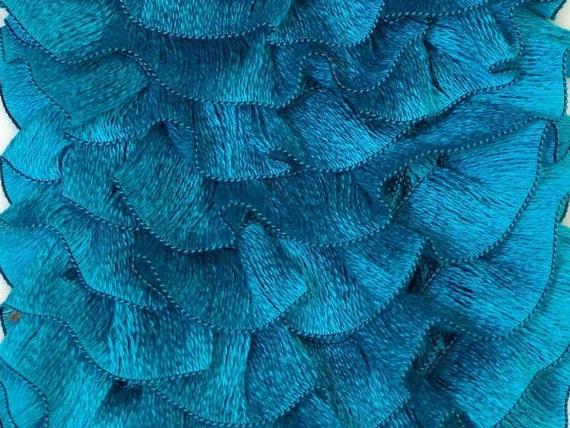 Turquoise scarf yarn ruffle  fashion  frilly fresh blue nautical summer, trend yarn, Samba ICE
