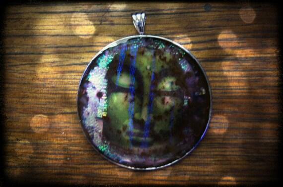 CLEARANCE Buddha Faux dichro liquid glass pendant on 42mm Platinum Silver Plated Bezel