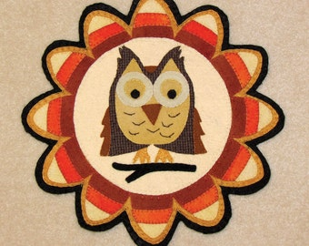PATTERN - Happy Owl-Oween - Wool Applique' Candle Mat
