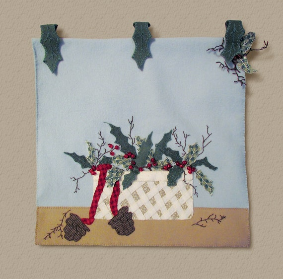 Wool Applique Pattern Holly Basket Table Runner Or