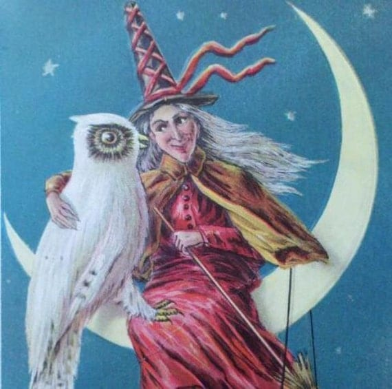 Classic Witch and Owl Halloween Postcard