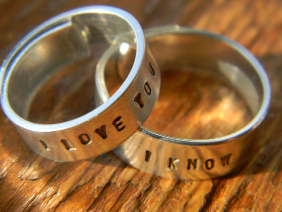 I love you, I know  hand stamped aluminum wrap 2 rings 1/4 inch