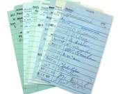 Vintage Library Check Out Cards in Blue - Lot of 30