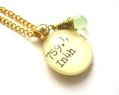 Margarita Green Glass Dewey Decimal Vintage Card Catalog Necklace - Mint Green Wirewrapped Drop