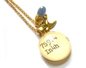 ON SALE Sapphire 22K Gold Dewey Decimal Vintage Card Catalog Luxe Necklace Opera Length with Blue Sapphire Drop and Sparrow Charm