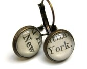 New York NYC Recycled Library Card Word Earrings Patina Brass