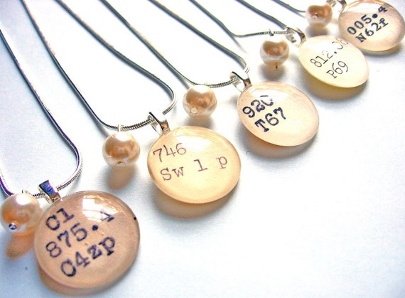 RESERVED Bridesmaid Necklaces with Pearl and Library Book Charm Bridal Package of 9
