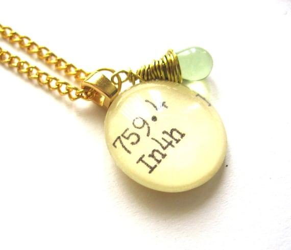 Margarita Green Glass Dewey Decimal Vintage Card Catalog Necklace - Mint Green Wirewrapped Drop