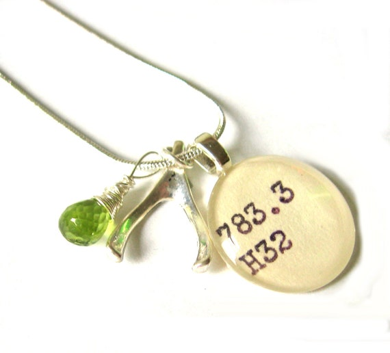 AAA Grade Peridot and Sterling Silver Wishbone Dewey Decimal Necklace August Birthstone