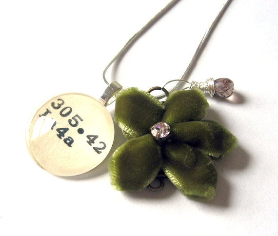 SALE DISCOUNTED AAA Grade Smoky Topaz and Green Velvet Flower Charm Dewey Decimal Necklace