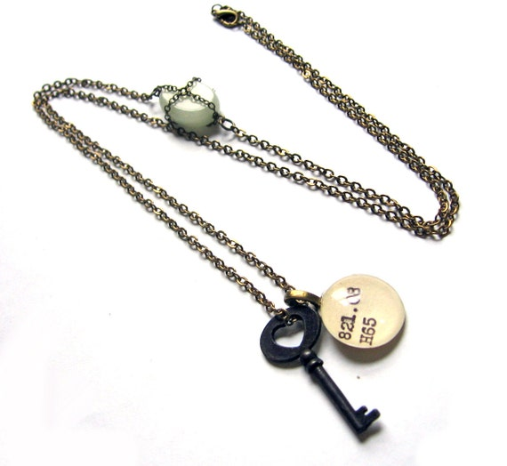 Extra Long Necklace with Green Milk Glass Accent and Skeleton Key Reclaimed Library Card Pendant
