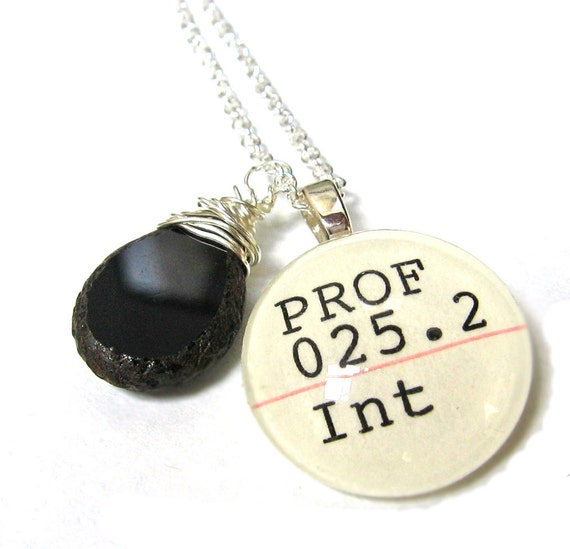 Obsidian Black and Natural Stone Picasso Czech Glass Sterling Silver Dewey Decimal Librarian Necklace