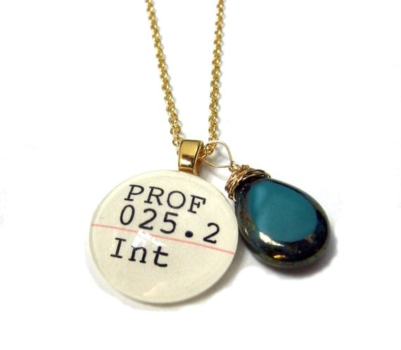 Parisian Peacock Teal Moon Dust Luster Czech Glass 22K Gold Dewey Decimal Librarian Necklace
