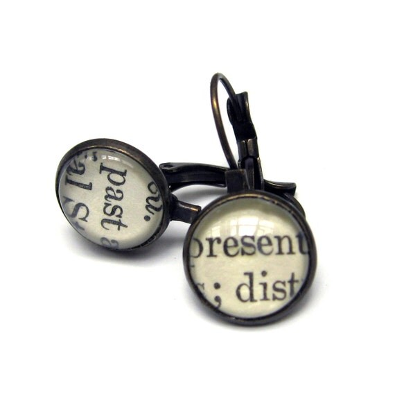 Past and Present Recycled Library Card Word Earrings Patina Brass