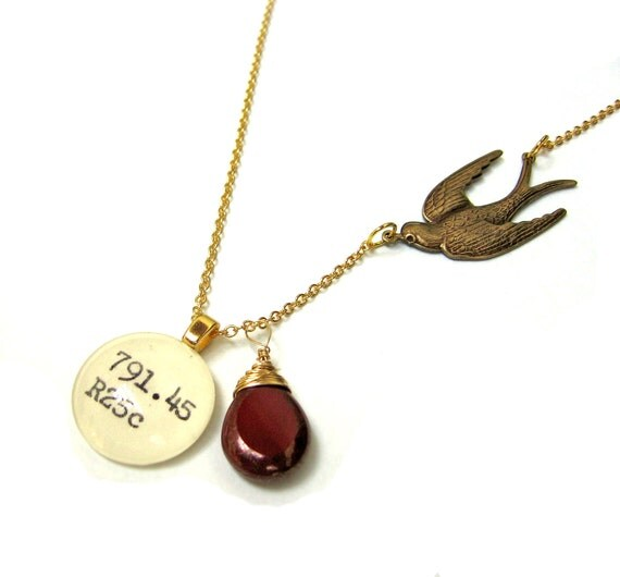 Flying Swallow Bird Maroon Red Moon Dust Luster Czech Glass 22K Gold Dewey Decimal Librarian Necklace