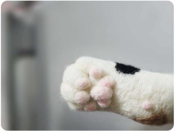 Cat hand paw Magnet- needle felted wool
