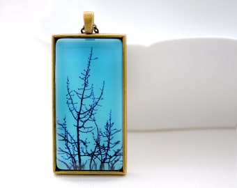 Blue Branches - Vintage - Pendant - Teal- Winter- Woodland Tree