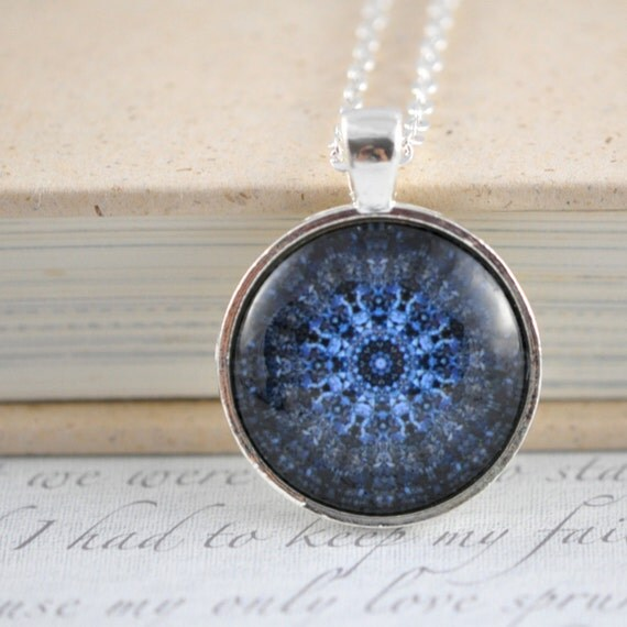 Blue Circle Mandala Necklace With Chain / Blue Glass Pendant / Sapphire Blue / SIlver and Glass / Modern Jewelry