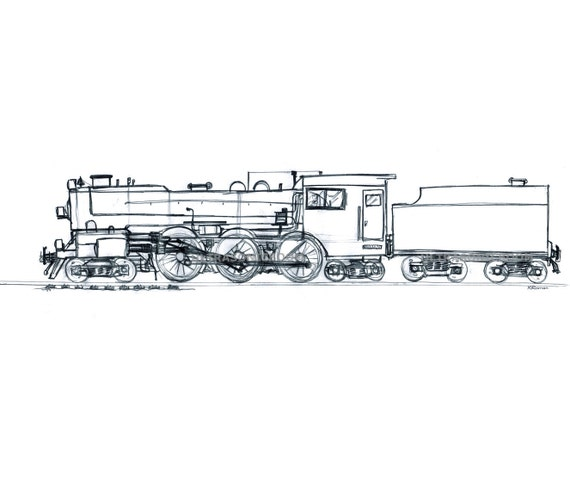 Steam Locomotive - Steam Train Engine - Print of my original sketch drawing - Boy's Nursery Playroom Wall Art - Size 8.3 x 5.8 in (A5)