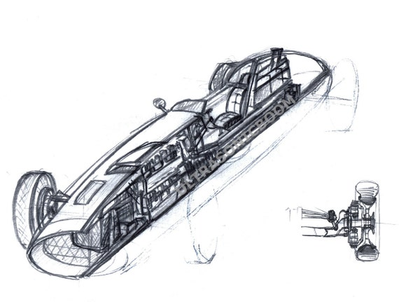 Classic F1 Racing Car from '60s - 3D Cut section - Print of my original sketch drawing - Man Gift - Size 8.3 x 5.8 in (A5)