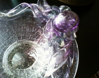 SALE Controlled bubble glass dish
