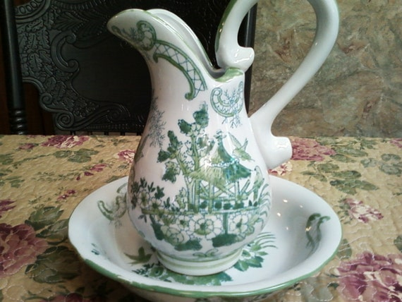 Beautiful Green and White Pitcher and Bowl Set