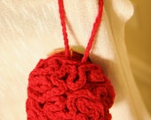 Cherry Red Crocheted Loofah Shower Sponge