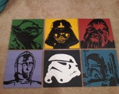 6 Star Wars Inspired Characters Acrylic Paintings: Darth Vader, Yoda, Chewbacca, Boba Fett, Stormtrooper, and C-3PO
