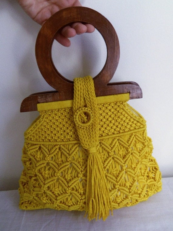 Vintage Golden Yellow Macrame Purse