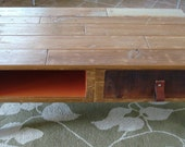 His and hers reclaimed wood coffee table mid century flair with leather strap drawer handles