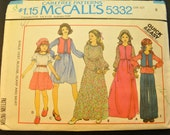 Girls' Vest, Blouse, Scarf and Skirt Size 8 Vintage 1970s Sewing Pattern-McCall's 5332