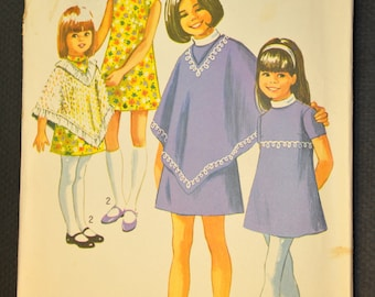 Girls' Dress and Poncho Size 8 Vintage 1970s Sewing Pattern-Simplicity 9186
